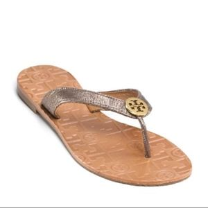 Tory Burch Thora Metallic Leather Flip Flop Sandal